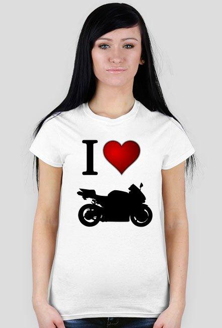 I love moto biała WM - koszulka