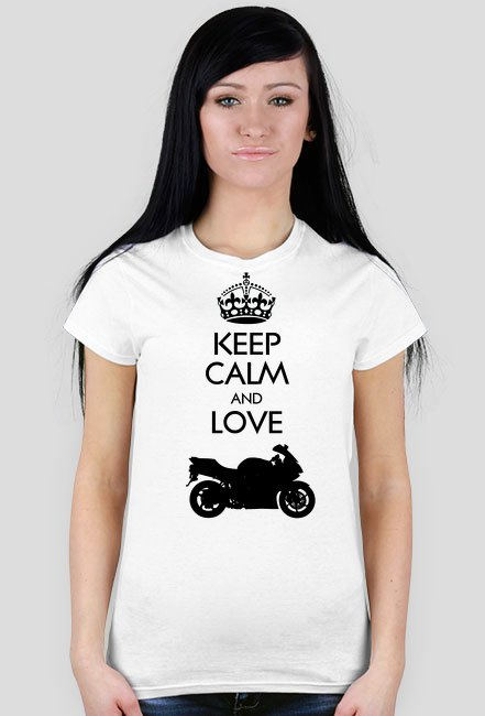 Keep Calm and love moto v2 biała WM - koszulka