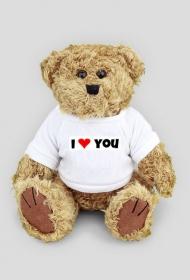 Pluszowy miś w koszulce z napisem I love you