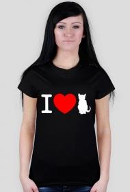 I love cats koszulka damska czarna