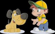 Koszulka chłopięca - chłopiec z psem
