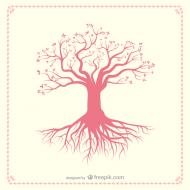 Różowe drzewo - czarna