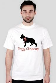 Męska świąteczna koszulka - biała - Owczarek Niemiecki