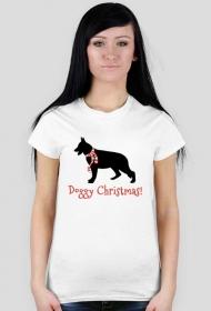 Damska świąteczna koszulka - biała - Owczarek Niemiecki