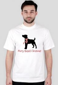 Męska świąteczna koszulka - biała - Russell Terrier