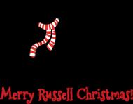 Męska świąteczna koszulka SLIM - biała - Russell Terrier