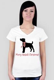 Damska świąteczna koszulka (dekolt) - biała - Russell Terrier