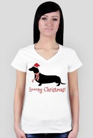 Damska świąteczna koszulka (dekolt) - biała - Jamnik