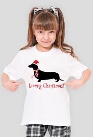 Dziewczęca świąteczna koszulka - Jamnik