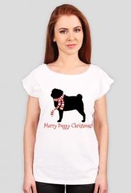 Damska świąteczna koszulka (wycięcie) - Mops