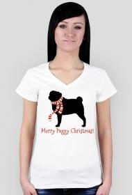 Damska świąteczna koszulka (dekolt) - biała - Mops