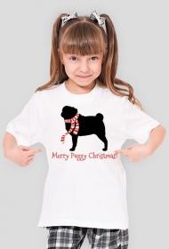 Dziewczęca świąteczna koszulka - Mops