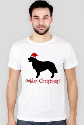 Męska świąteczna koszulka SLIM - biała - Golden Retriever