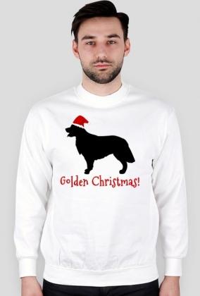 Męska świąteczna bluza - biała - Golden Retriever