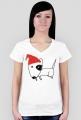 Damska świąteczna koszulka (dekolt) - biała