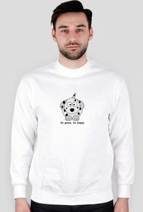 Bluza Biała Męska bez Kaptura. Szczęśliwy Dalmatyńczyk