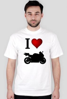 I love moto biała M - koszulka