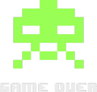 8 bit character GAME OVER Black 8BWND LW
