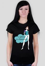 Z głową w chmurach - damski t-shirt