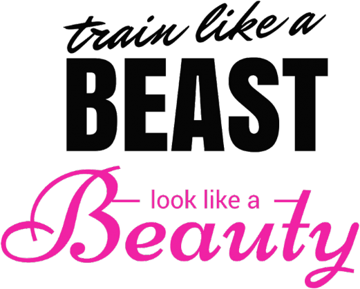 Train like a BEAST look like a Beauty biała damska bokserka od FITlovin.pl - czarny/róż