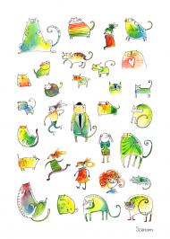 Plakat Kolorowe Koty